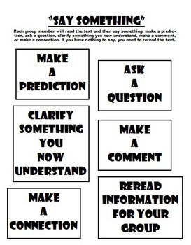 Say Something Graphic Organizer