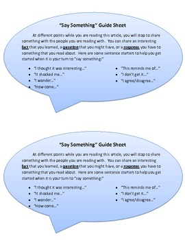 """""""Say Something"""" Guide Sheet for Students"""