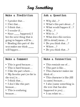 Say Something Reading Strategy