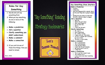 """""""Say Something"""" Reading Strategy Bookmarks"""