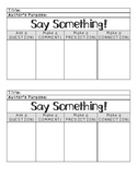 Say Something Reading Strategy Graphic Organizer