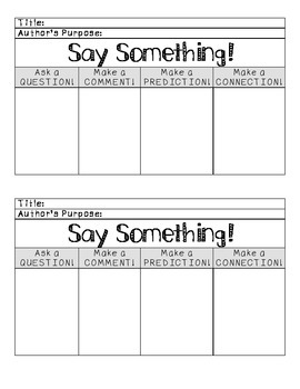 Say Something Reading Strategy Graphic Organizer