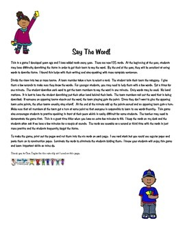 Say The Word!    Vocabulary building game by Lee Robbins