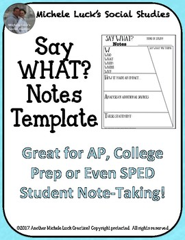 Say WHAT Notes Template Graphic Organizer for ANY TOPIC!
