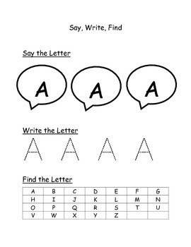 Say Write Find Capital Letters