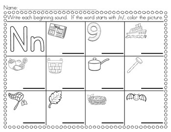 Say, Write, and Color: Beginning Sound Practice