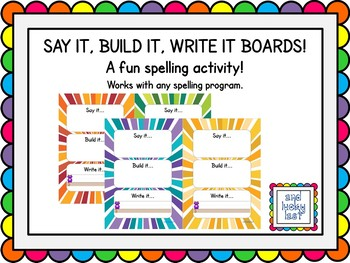 Say it, Build it, Write it boards - Starbursts