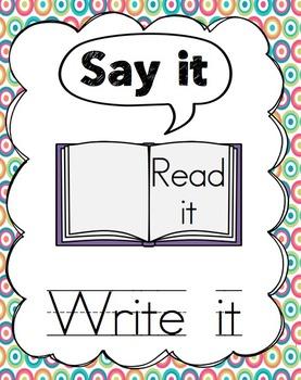 Say it, Read it, Write it: Cvc Reading Practice
