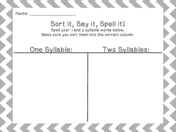 Say it, Sort it, Spell it - 1 and 2 syllable words
