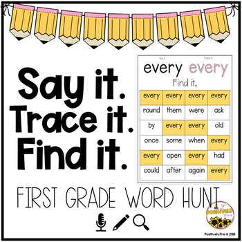 Say it. Trace it. Find It. (1st Grade Dolch Words)