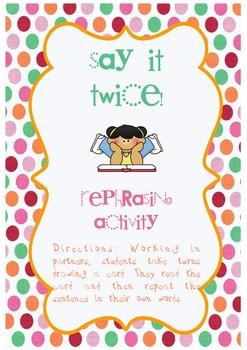 Say it Twice - Rephrasing activity (oral language)