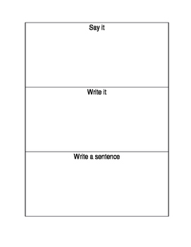 Say it, Write it and Write a sentence with Sight Words