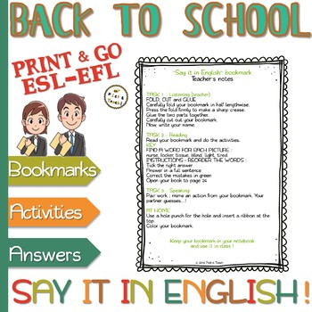 "Classroom language - ""Say it in English"" BOOKMARKS - Pre-intermediate"