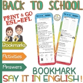 """Classroom language - """"Say it in English"""" BOOKMARKS - Pre-i"""