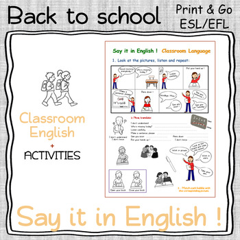 Classroom language - Say it in English ! - Beginners