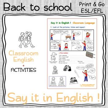 Say it in English - Classroom language - NO PREP