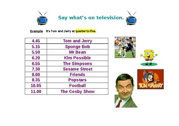 Say what is on TV worksheet