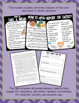 Saying Sorry, Tattling, & Thinking Chair Character Education Poster Bundle