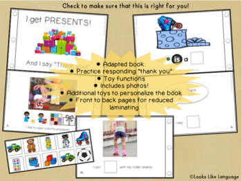 """Adapted Book for Special Education & PreK: Social Skills- Saying """"Thank You"""""""