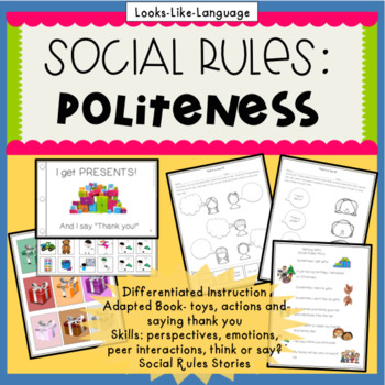 Social Skills Activities | Politeness Thank You Adapted Book