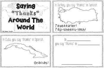 """Saying """"Thanks"""" In Languages Around The World Booklet"""
