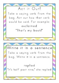 Saying Verbs in a Bag Activity Pack