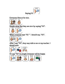 Saying hi in school social story