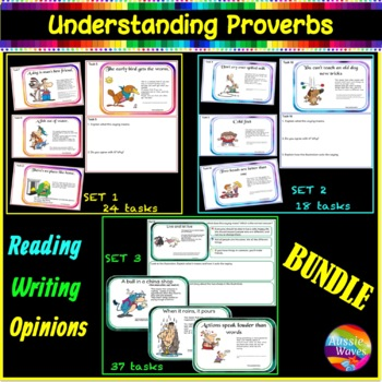 Sayings and Phrases BUNDLE- 54 Proverbs Anchor Sheets, Tas