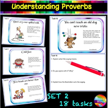 Sayings and Phrases  CC Yr2 - Proverbs Anchor Sheets, Task