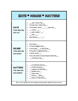 Say Mean Matter / Says Means Matters -Writing Reference Tool! (Elementary)