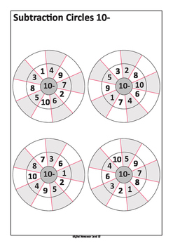 Subtraction Circles - Subtraction from 10- to 20-