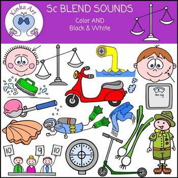 Sc Sounds (S Blends): Beginning Sounds Clip Art