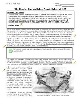 Scaffolded Close Read of Lincoln Douglas Senate Debates of 1858