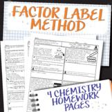 Scaffolded Factor Label Method Chemistry Homework Worksheets