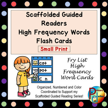 Scaffolded Guided Reading Series High Frequency Words Flash Cards - Small Print