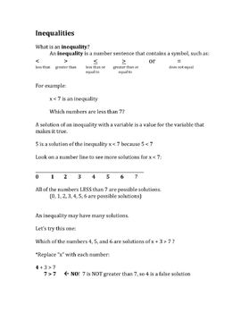 Scaffolded Math Notes: Expressions, Equations, Inequalities
