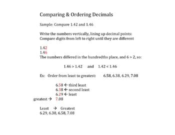 Scaffolded Math Notes: Place Value & Decimals