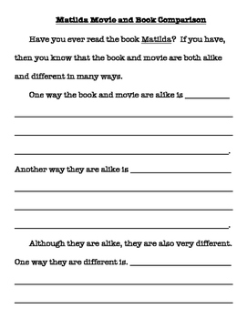 Scaffolded Matilda book/movie comparison writing for 3 levels of learners