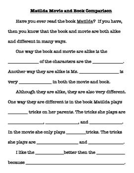 Scaffolded Matilda book/movie comparison writing for 3 lev
