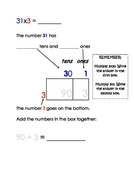 Common core Scaffolded Multiplication Partitioning Packet, special ed