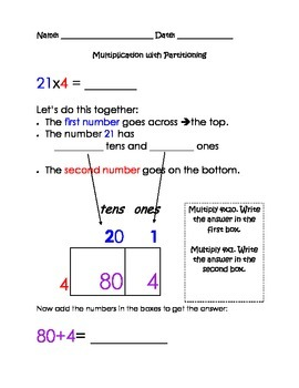 Common core Scaffolded Multiplication Partitioning Packet,