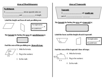 Scaffolded Notes: Finding the Area of Parallelograms and Trapezoids