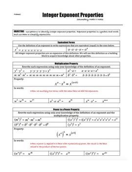 Scaffolded Notes - Integer Exponent Properties (Math 1 & Math 2)