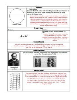 Scaffolded Notes for Finding Area and Volume using Pi (Math 2)