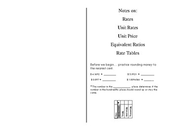 Scaffolded Notes on Rate, Unit Rate, Unit Price, Equivalent Ratios and Tables