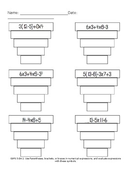Scaffolded Order of Operations Worksheet