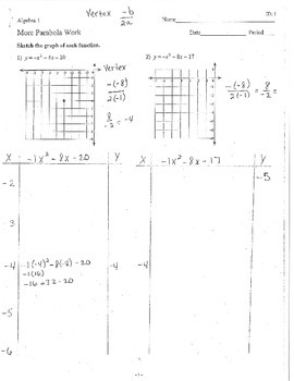 Scaffolded Parabola Work