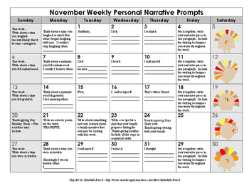 Scaffolded Personal Narrative Writing Calendar with Graphic Organizer