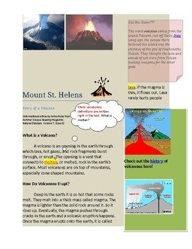 Scaffolded Reading about Volcanoes