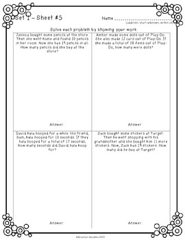 Scaffolded Word Problem Worksheets for 2nd Grade (2.OA.1)